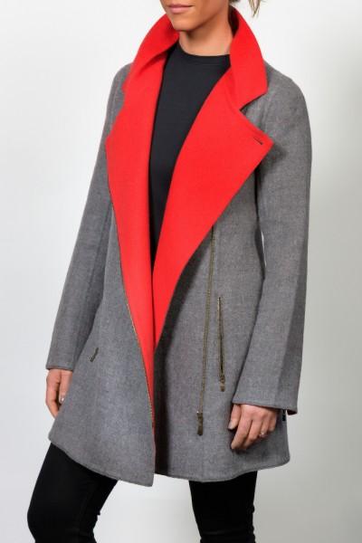 Zipped Front Coat grau/rot