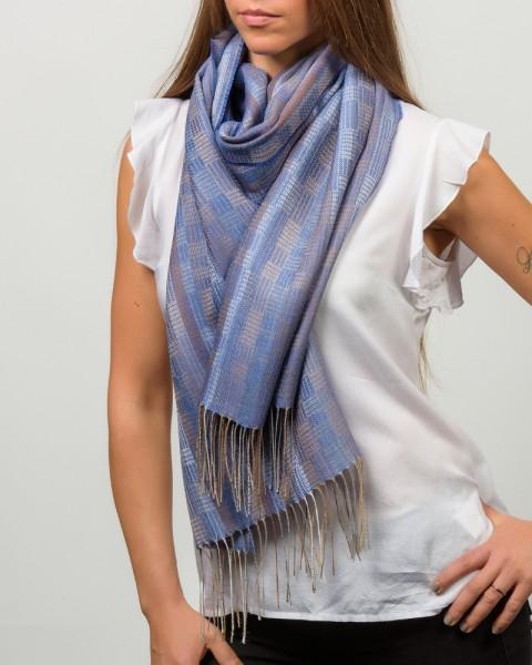 Stripped Weaves Wide Scarf blau