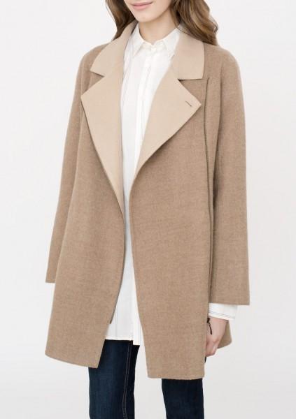 Zipped Front Coat hellbraun/beige